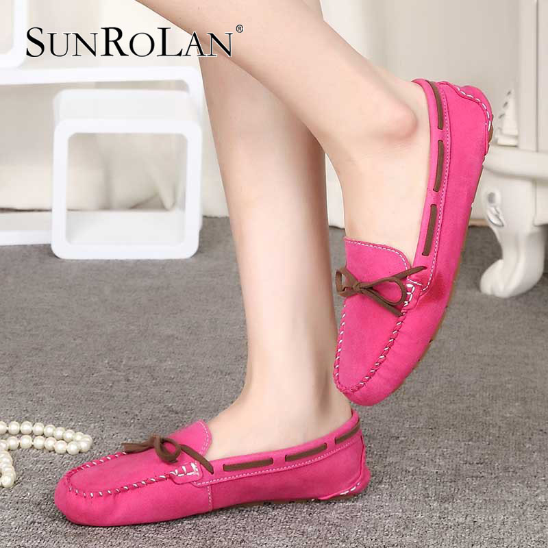 SUNROLAN 2017 Spring Summer Women Flats Fashion Boat Shoes Causal Slip-on Loafers Woman Casual Loafers Women's Driving Shoe 801 znpnxn size 34 44 women flats shoes woman handmade boat shoes driving style slip on ballerines femme fhaussures 9 color