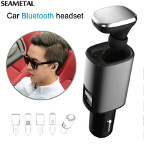 Car Bluetooth Headset Mini Wireless Handsfree LED Light Dual USB Output Cigarette Lighter Kit Stereo Universal Supplies Styling