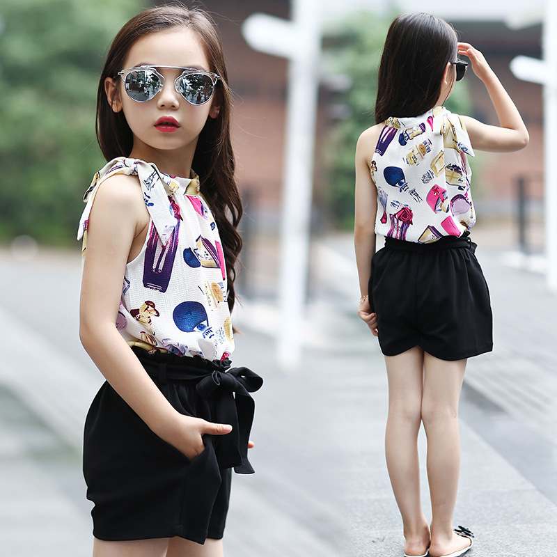 2017 New Hot Sale Girl Clothing Set Sleeveless Blouse and Pants for Baby Girl Summer Wear Children Clothing 2 Pcs Baby Clothes
