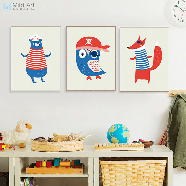 Nordic Kawaii Pirate Animal Bear Sailor Poster A4 Hippie Boy Kid