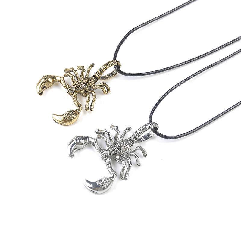 Moda 3D escorpión colgante Animal Collar para hombre mujer 2018 Vintage oro plata Punk cuero cadena collares joyería