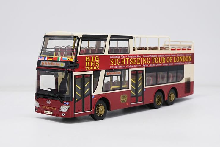 Boutique 1:43 BIG BUS model for London Double Decker sightseeing bus Alloy collection model Holiday gifts 1 43 ankai bus sightseeing tour of london bigbus big bus diecast model bus open top