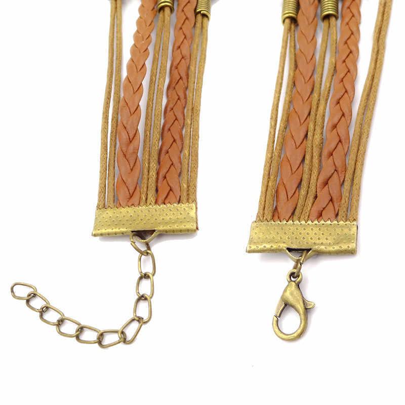 Cita no mi circo no mis monos marrón tejer vidrio inspirador Domo cabujón cuero pulsera hombres mujeres joyería regalo