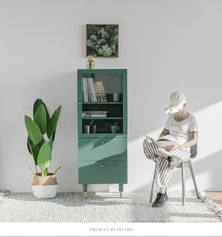 [InYard original] meuble haut d'angle de vie/meuble latéral TV, rangement en verre, buffet, salon, nordique, simple, moderne - 5