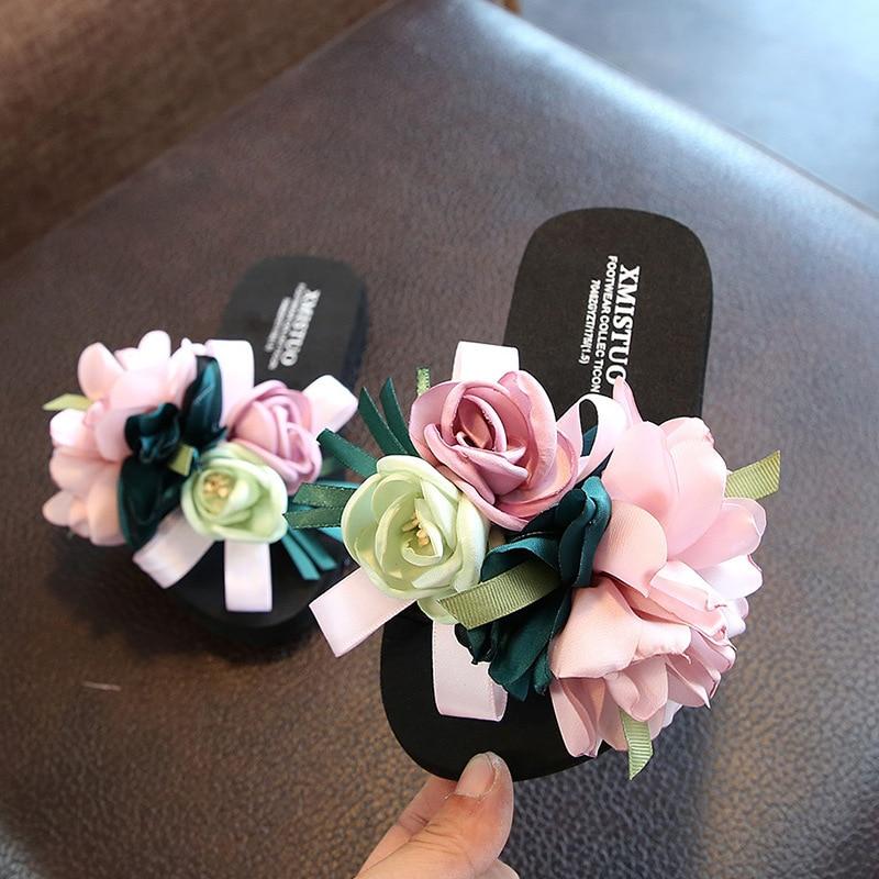 House Slippers Platform Flip-Flops Parent-Child-Wear Kids Woman Sandals Flower Beach Shoes