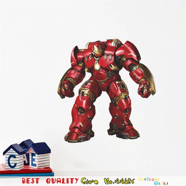 Perfect Large Iron Man Wall Stickers Superheros Wall Decals Kids Room Decoration  Avengers Wallpaper 3d Craft Movie Part 32