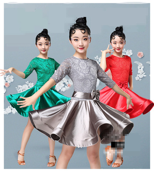 New Girls Lace Ballroom And Latin Dance Dresses For Sale Cha Cha Rumba Samba Jive Long Sleeves Children Teen Latino Dress