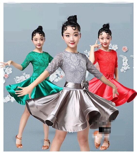 New Girls Lace Ballroom And Latin Dance Dresses For Sale Cha Cha Rumba Samba Jive Long Sleeves Children Teen Latino Dress