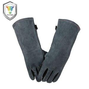 Image 4 - OZERO Welding Glove Work Welders Cowskin Leather Barbecue Gloves Working Garden Protective Cut Resistant Long Sleeve Glove 2415