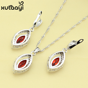 Alluring Red Stones Cubic Zirconia,925 Silver Bridal Wedding Jewelry Set Earrings Necklace Pendant Rings Made In China