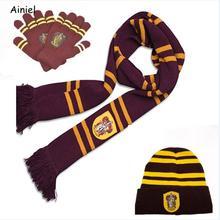 Хогвартс Школа Гермиона Рональд длинный шарф шапка галстук перчатки вязаный теплый зимний студенческий косплей на Гриффиндор костюм для женщин девочек