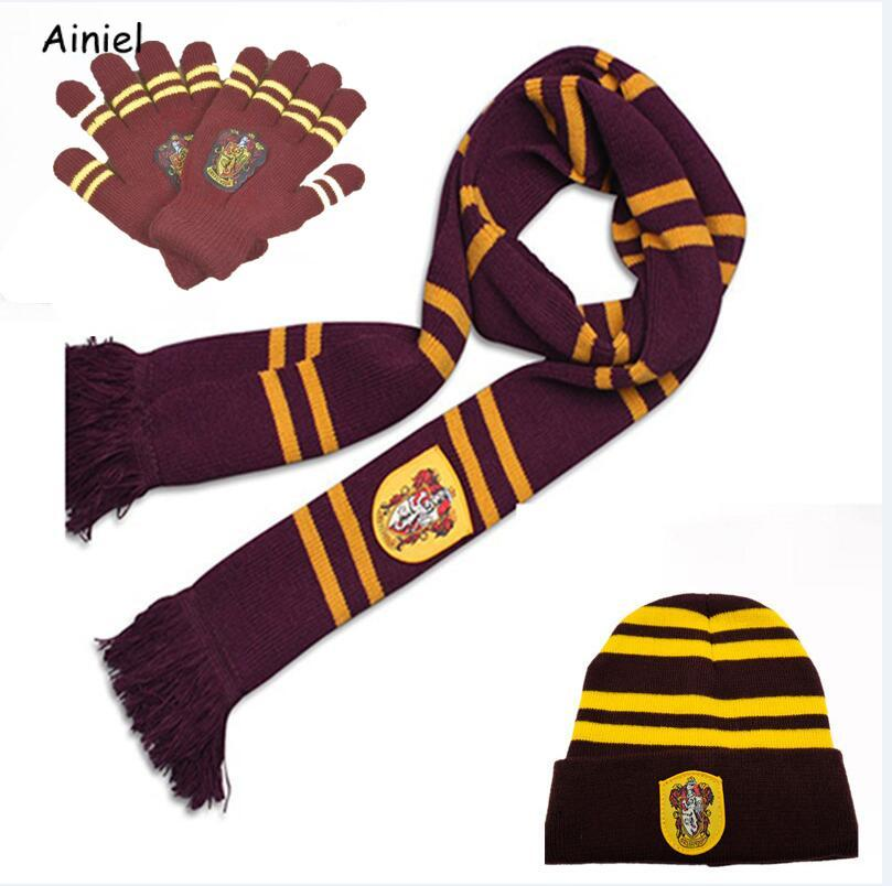 Hogwarts School Hermione Ronald Long Scarf Hat Cap Tie Gloves Knitted Warm Winter Student Gryffindor Cosplay Costume Women Girls