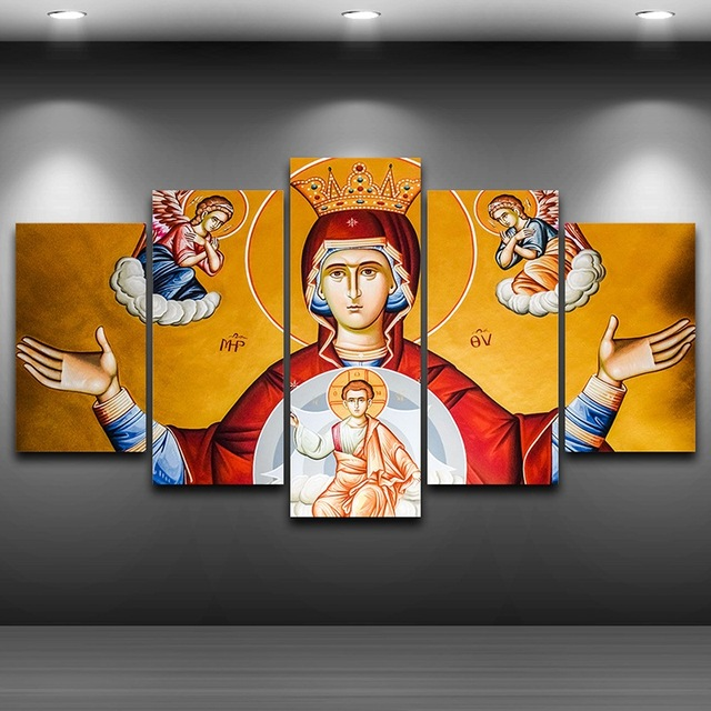 Virgen María artístico impreso dibujo sobre lienzo enmarcado arte de ...