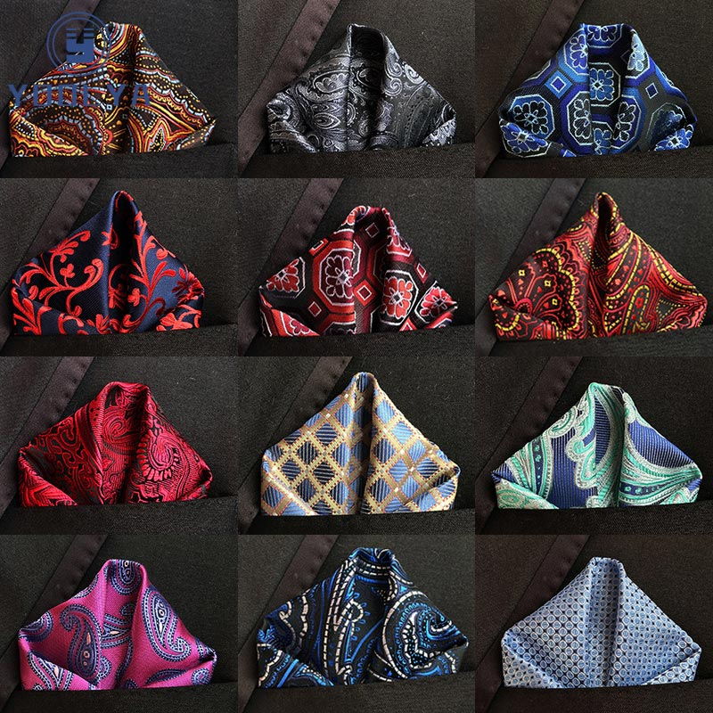 Luxury Men's Silk Handkerchief Floral Paisley Jacquard Woven Pocket Square Hanky 25 * 25cm For Adult Wedding Party Chest Towel
