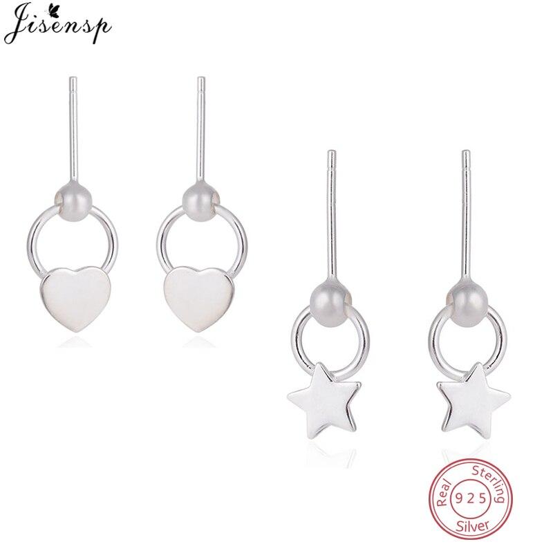 Jisensp Cute 925 Sterling Silver Star Earrings Hollow out Love Heart Stud Earrings for Women Girl Kids Birthday Piercing Jewelry