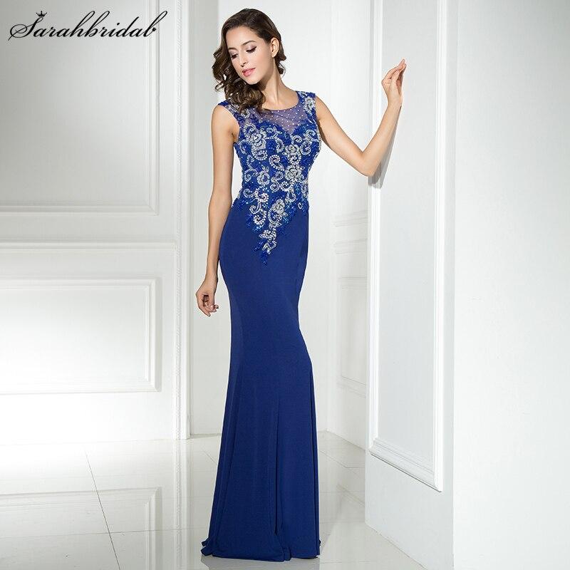 New Arrivals In Stock Style Elegant Long Mermaid   Evening     Dresses   O Neck Crystal Party Gowns Formal Vestido De Festa LSX330