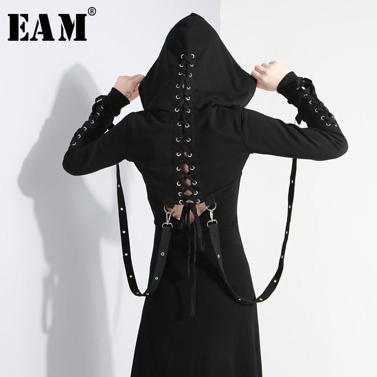 [EAM] 2018 Новый осень-зима с капюшоном с длинным рукавом черный крест бинты выдалбливают Короткая Толстовка Для женщин Прохладный моды Tide JG952