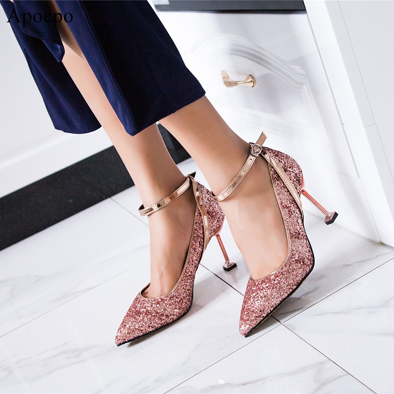 Women Bling Bling Glitter Stiletto Heels Pumps Pointed Toe Slip-On Sequined Cloth Wine Cup Heel Dress Shoe Gold Heels Pumps J001 уровень topex 29c506