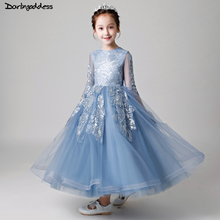 Burgundy Navy Blue Lace Flower Girl Dresses For Party And Wedding Long Sleeve Pageant Dress for Girls Kids First Communion Dress недорого