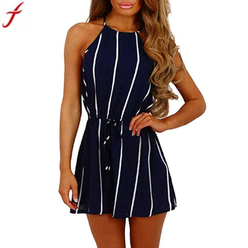 a531c8239e9 Detail Feedback Questions about Stripe Cold Shoulder sexy rompers Womens  jumpsuit Sleeveless Playsuit 2018 Elegant ladies summer jumpsuits short  overalls ...