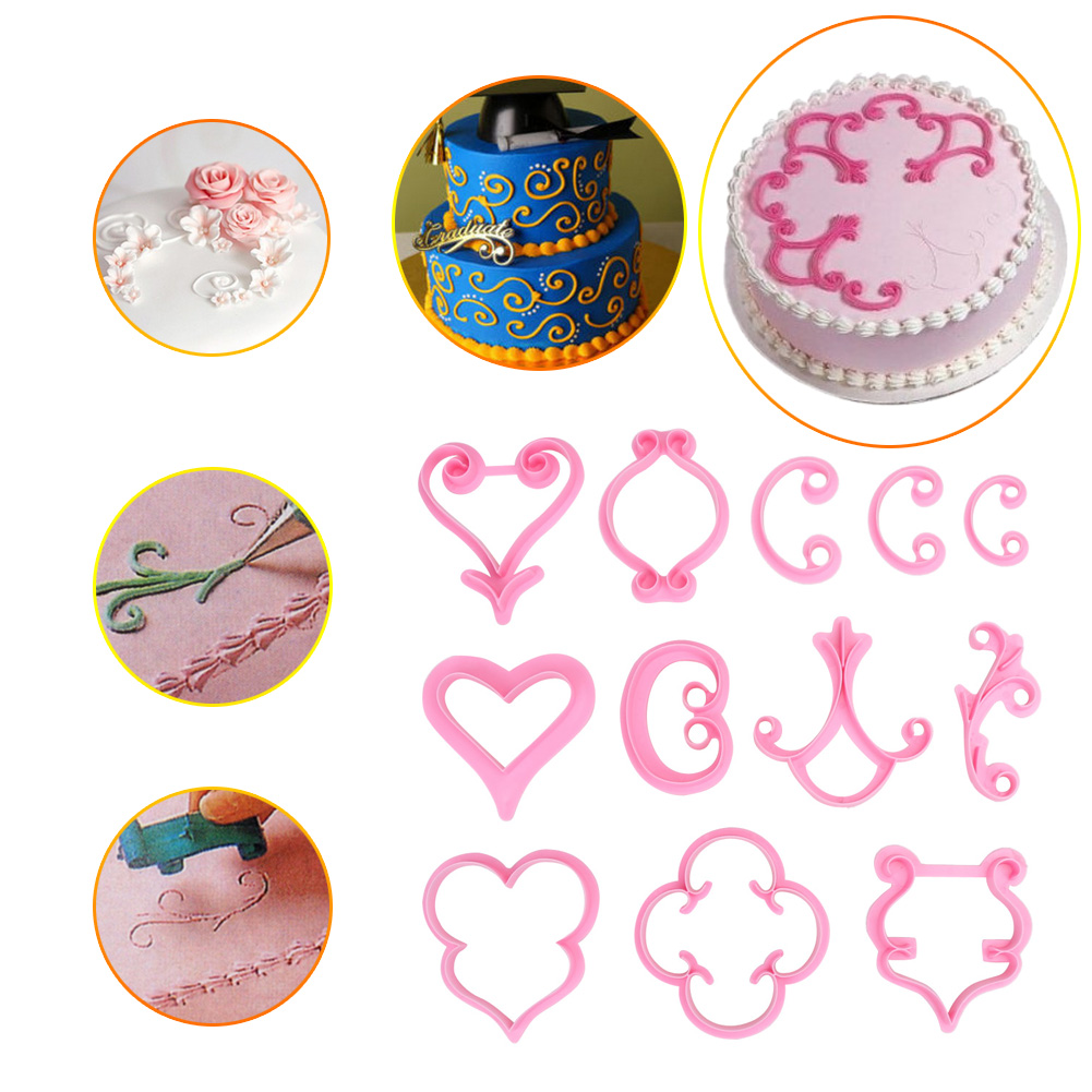 12pcs/set Fondant Cake Decorating Tools Kitchen accessaries Cookie Cutter Biscuit Baking Cake Mold Bakeware supplies