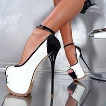 Sexy White Black Leather Pumps Women Shoes Peep Toe Ankle Strap High Platform Heels Ladies Dress Shoes Customized Weeding Shoes цена