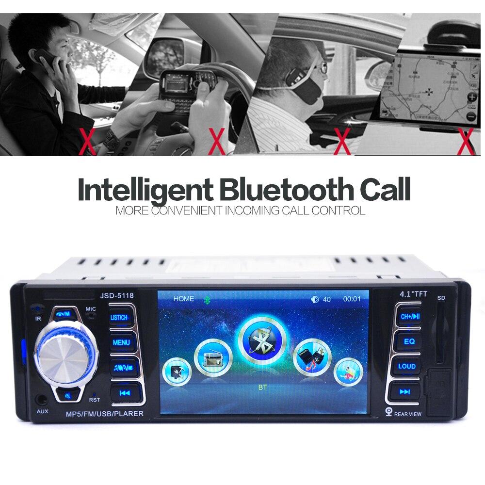 5118 4.1 pouce 1 DIN dans le tableau de bord Bluetooth Auto autoradio stéréo récepteur Audio FM USB SD MMC MP5 lecteur 12/24 V 50 W x 4CH + télécommande - 3