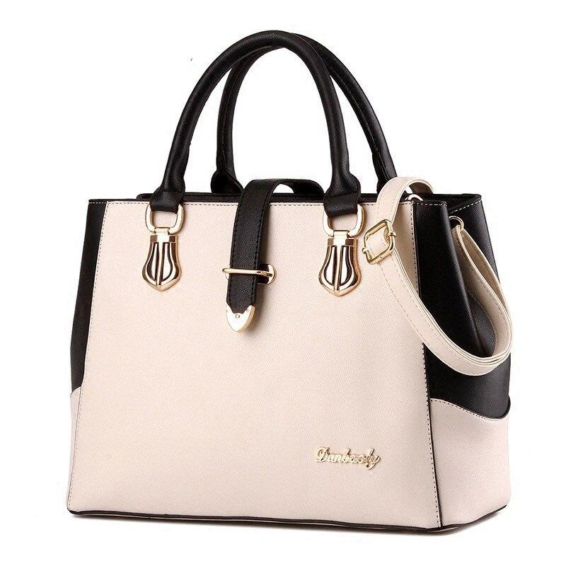 Black White Contrast Color Ladies Elegant Hand Bag Women 2016 New Korean Style Patchwork Designer Large