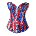 Satin Corsets And Bustiers Tops Floral Print Women Corset Waist Trainer Victorian Corsets Clothing Brocade Overbust Corset XXL