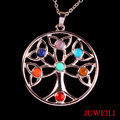 JUWEILI Jewelry 10pcs Excellent 7 Chakra Beads Tree Of Life Star Metal Pendant Charms Energy Balancing Healthy Amulet