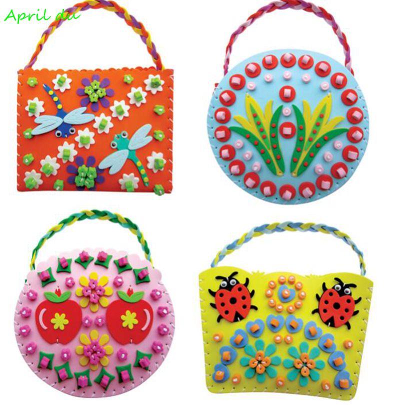 April Du Children DIY EVA Sewing Bag Kids Art Craft Kits Materials Handmade Creative Toys For Girls 4pcs