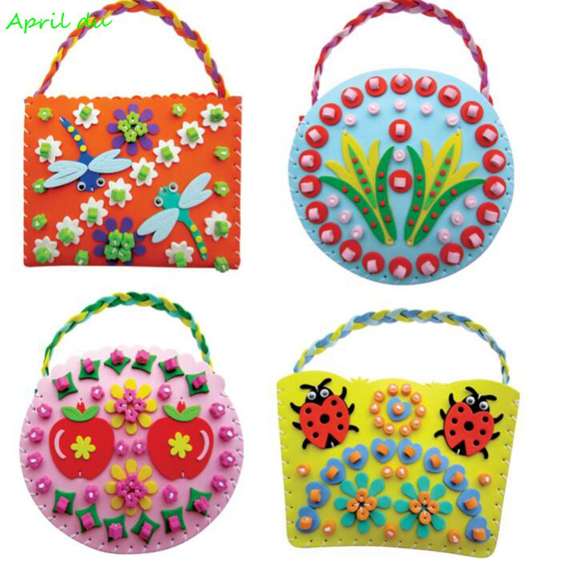 April Du Children DIY EVA Sewing Bag Kids Art Craft Kits Materials Handmade Creative Toys For Girls 4pcs