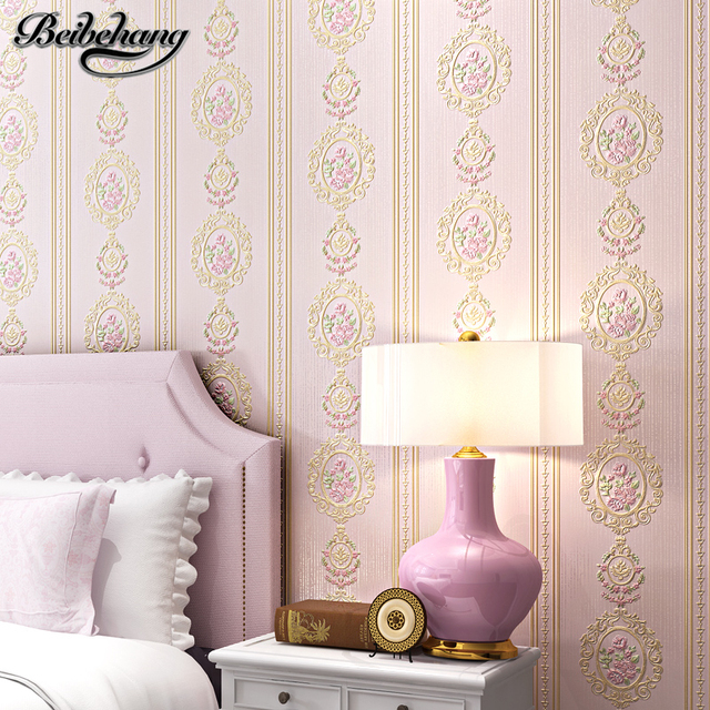 beibehang Nonwovens Embossed Stereo 3D Romantic European Pastoral Vertical Striped Living Room Bedroom TV Background Wallpaper