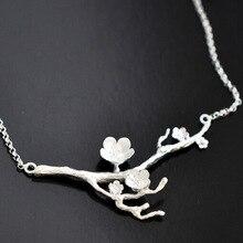 font b 925 b font Sterling font b Silver b font Cherry blossom Necklace Fashion