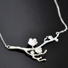 925 Sterling Silver Cherry blossom Necklace Fashion Summer Jewelry Branch Flowers Necklaces Pendants for women Joyas
