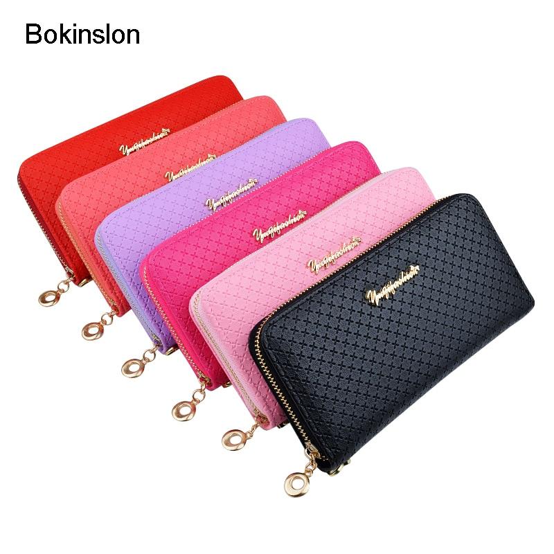 Bokinslon Ladies Zipper Purse Large Capacity Practical Hand Wallet Woman PU Leather Fashion Female Long Section Wallet