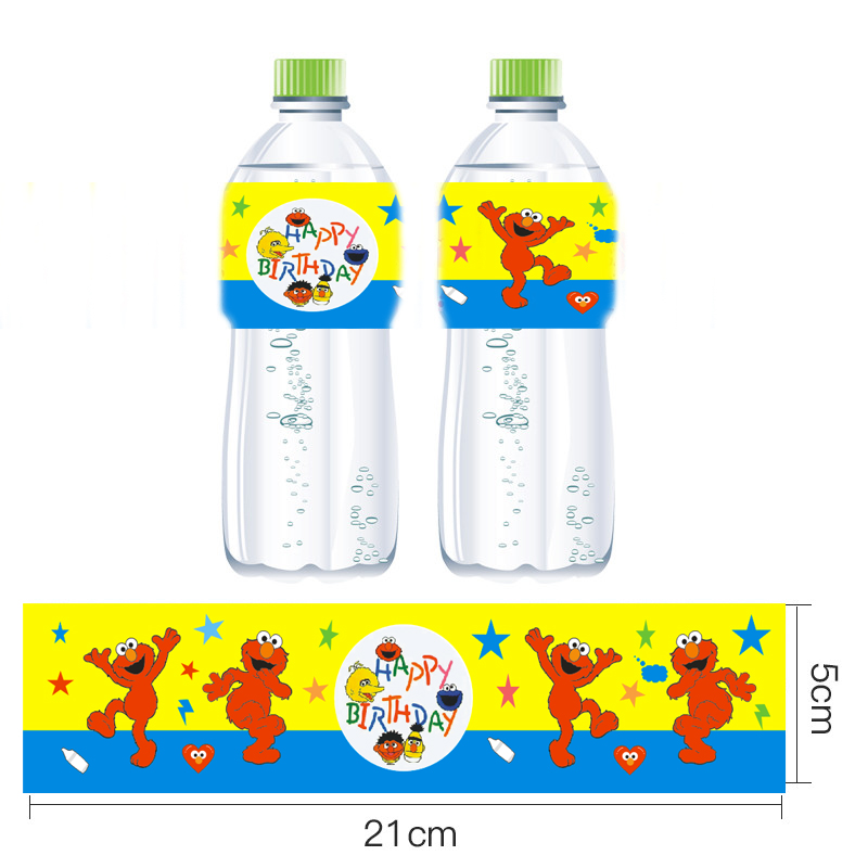 Omilut 12pcs Elmo Party Mineral Water Bottle Label Birthday Decor Seasame Street Stickers
