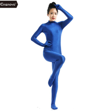Ensnovo Blu Spandex Zentai Full Body Skin Tight Tuta Suit Costume Per Le Donne Unitard Lycra Dancewear