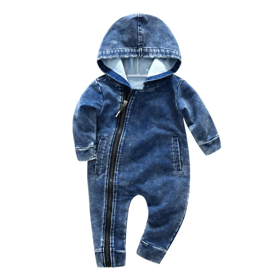 Baby Unise Rompers Solid Cotton Onepiece Winter Casual Long Sleeve Hooded Zipper Infant Clothing 18Mar26