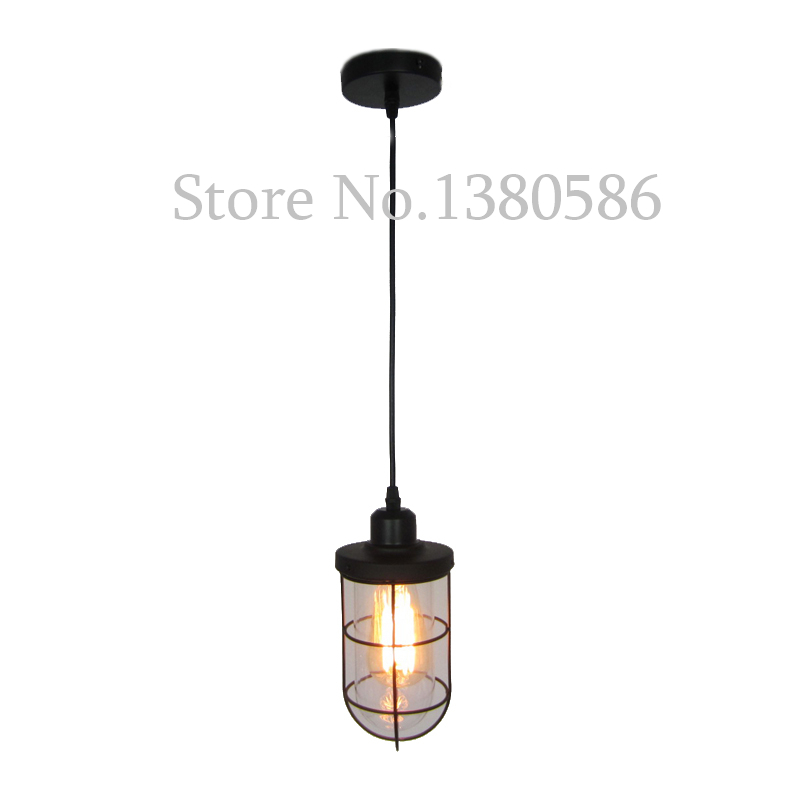 Vintage E27 Industrial Wind bullet glass Pendant Light Retro wrought iron Handing lamp American personality Iron Pendant Lamp industrial wind bar the tables and chairs chair wrought iron pot of stool
