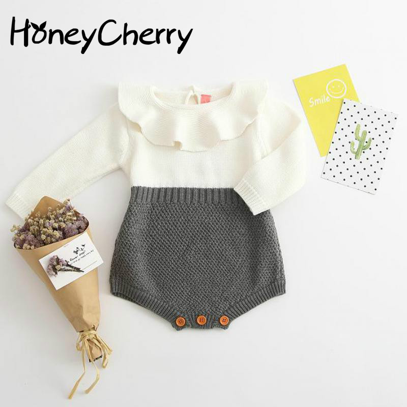 Spring And Autumn Baby Jumpsuit Knitting Sweater Conjoined Garment Baby Bodysuits Baby Girl Clothes Baby Jumpsuit