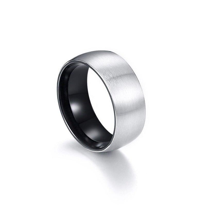 Купить мужское кольцо из нержавеющей стали простое серебряное 8 мм