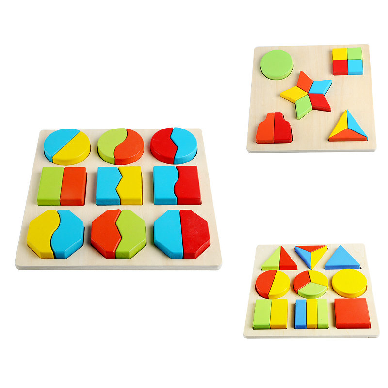 Free Shipping Baby Wooden Montessori Teaching Aids Blocks Toy, Children Early Education Block, Kids Geometric Assembling Block