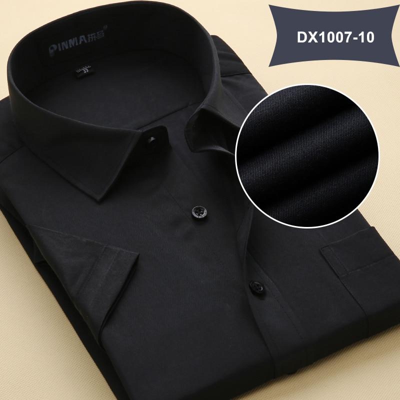 Летняя Стильная мужская одежда, мужская повседневная рубашка с коротким рукавом и отложным воротником, мужские рубашки, одноцветные рубашки для мужчин - Цвет: DX100710