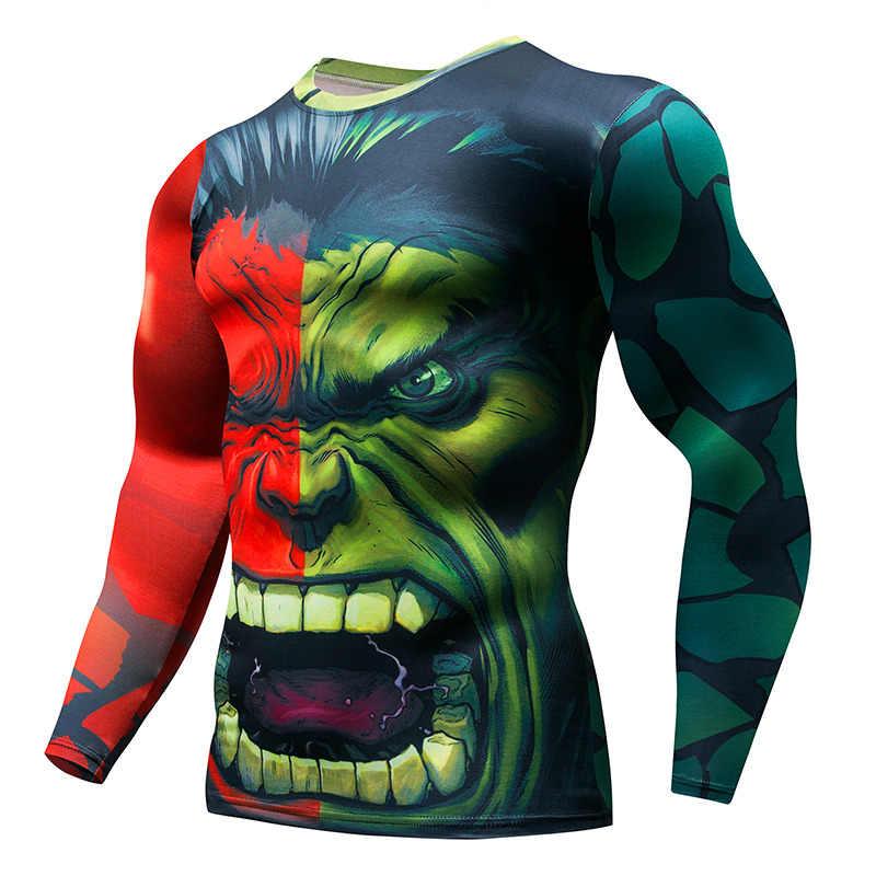 2019 осень зима супергерой Супермен/Бэтмен/Человек-паук мужская футболка с длинным рукавом компрессионные колготки топы Футболка