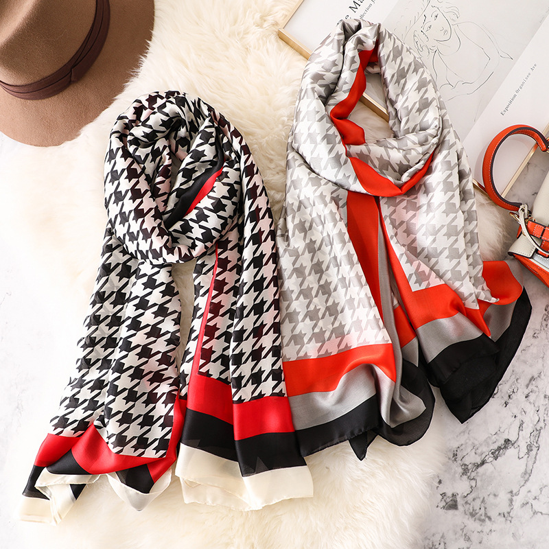 Luxury Brand Designer Silk Scarf Women Fashion Houndstooth Pashmina High Quality Thin Shawls Wraps Femme Foulard Bandana Hijab