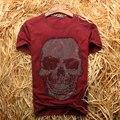 Высочайшее Качество мужские футболки Алмазов череп хлопок O-образным Вырезом с коротким рукавом мода марка дизайнер футболки для мужчин лето tee
