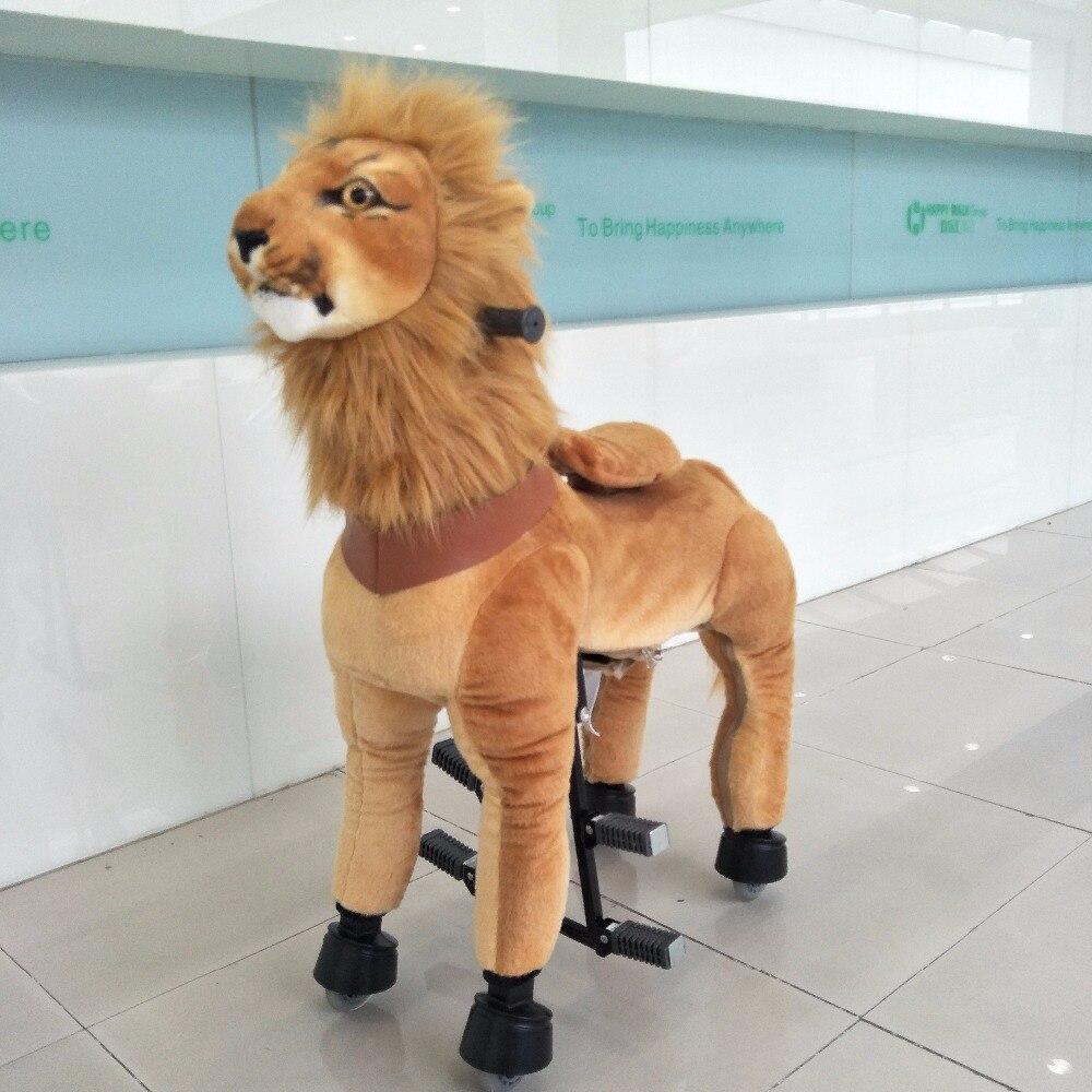 HI CE nouveauté cheval mécanique Kawaii balade sur cheval Lion monté sur cheval enfants jouet pour enfants/adultes cadeaux de nouvel an