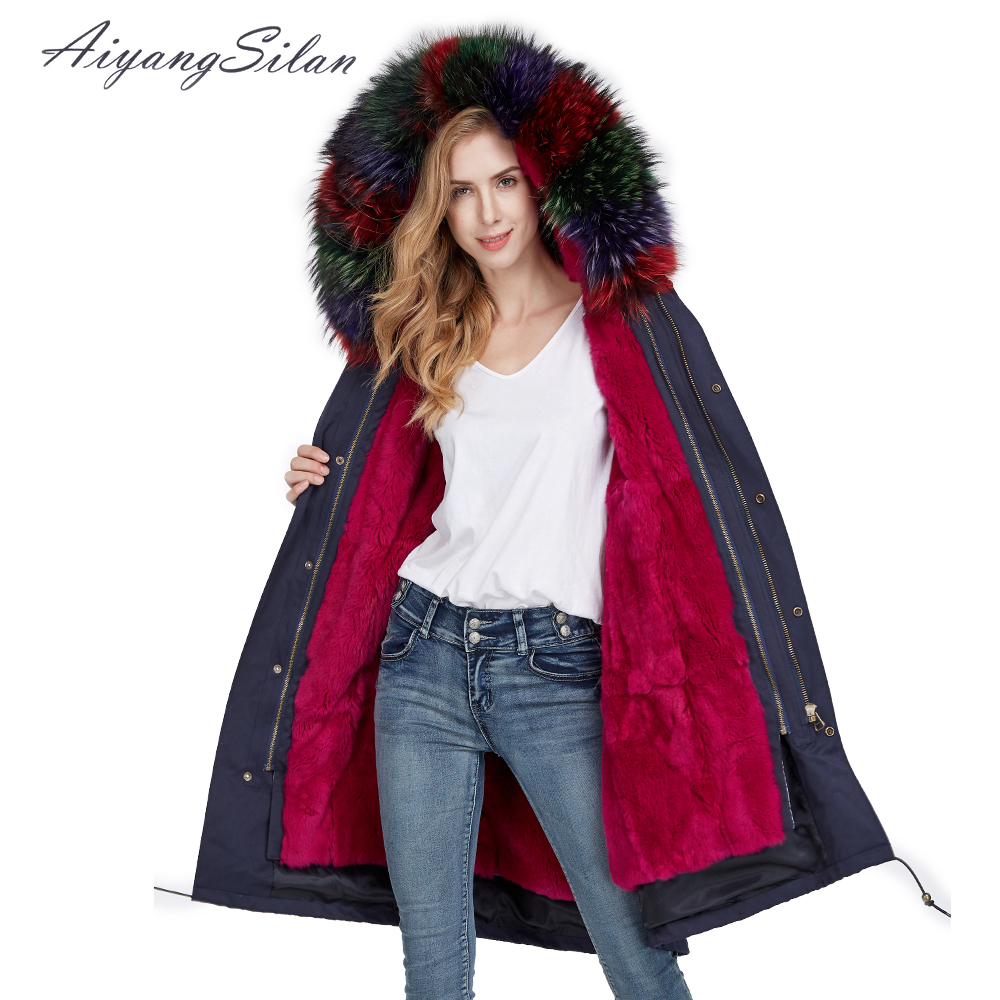AiyangSilan Women Warm Real Fur Coat Hooded Detachable Natural Rex Rabbit Fur Liner Parka Long Design for Ladies Girls Fur Coats aiyangsilan fox fur down liner detachable jacket long warm hooded ladies fur coats white real fox fur collar parka for women