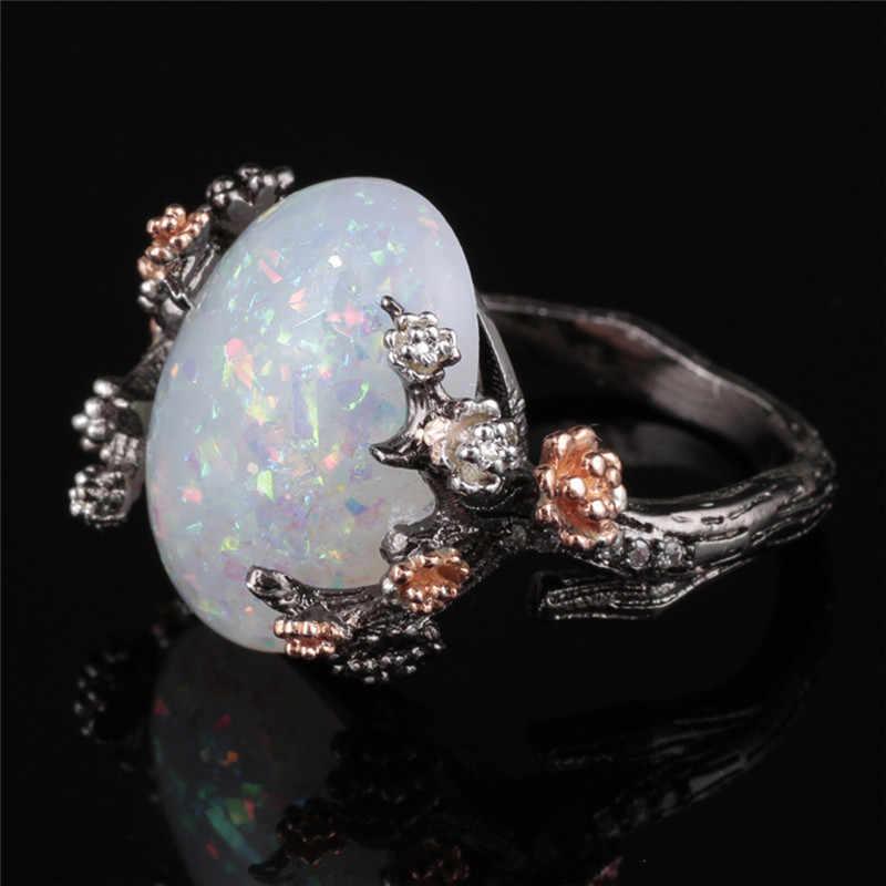 Thời trang Hình Bầu Dục Lớn Cháy Opal Nhẫn Đối Với Phụ Nữ Rose Gold Màu Giá Rẻ Lời Hứa Sang Trọng Đồ Trang Sức Zircon CZ Đơn Giản Nhẫn Cưới d35